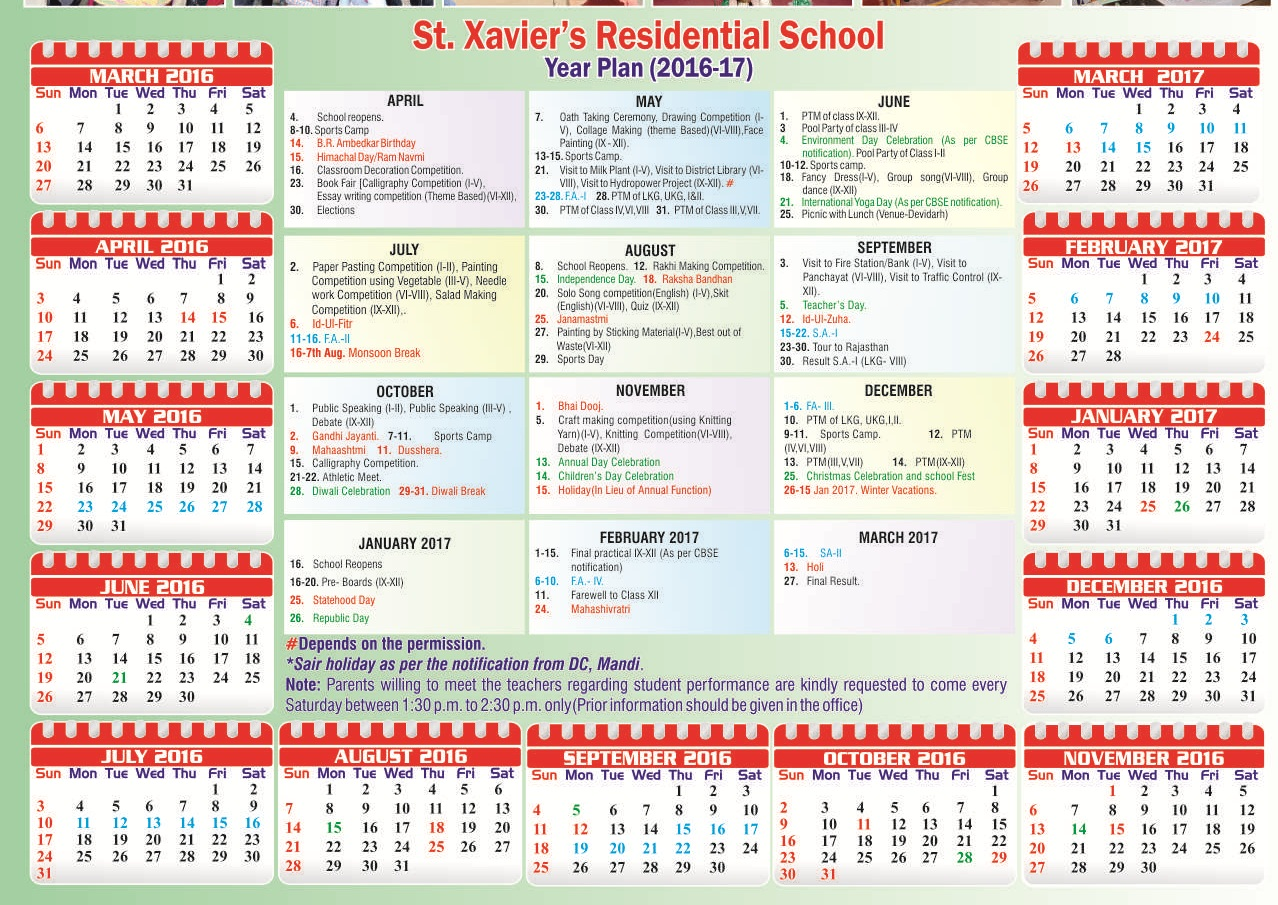 event calander st xavier s residential school event calander of school